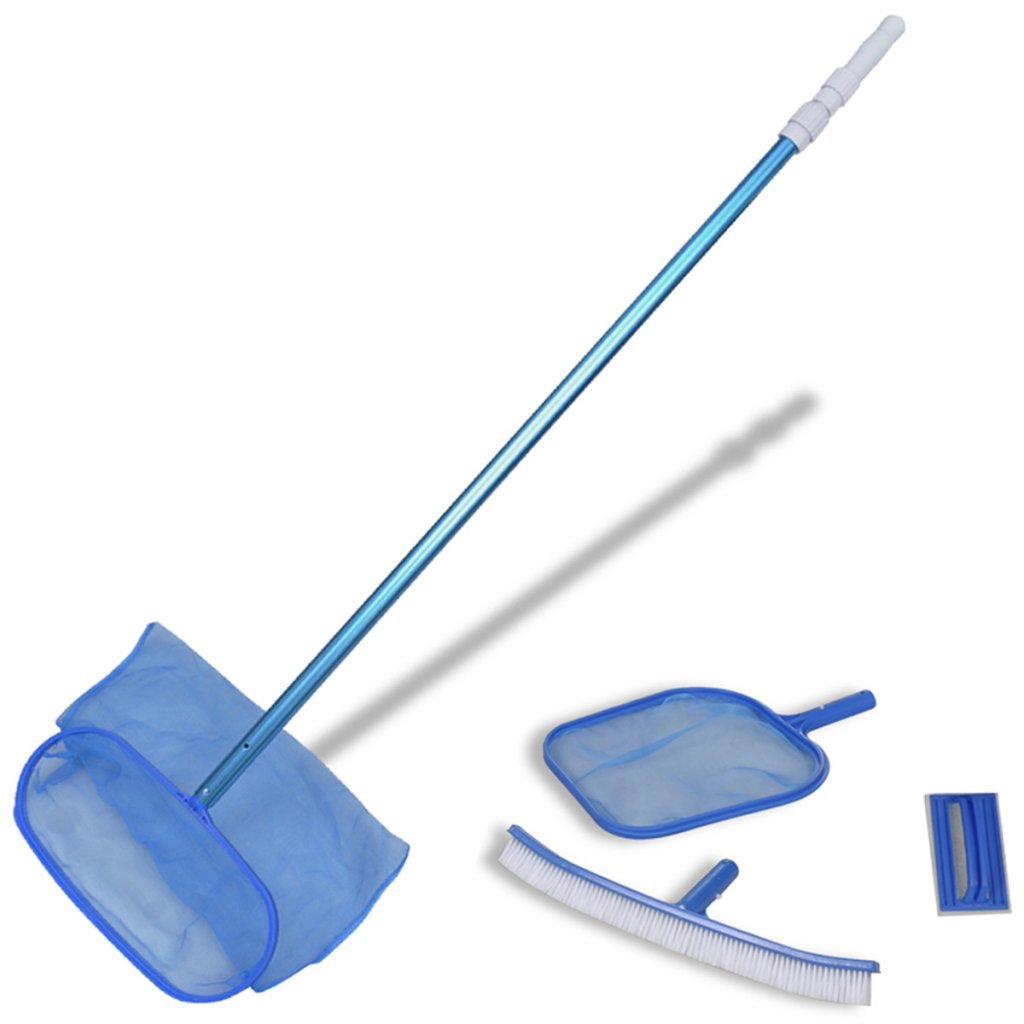 Festnight Pool Cleaning Set Above-Ground Pool Maintenance Kit with Brush, 2 Leaf Skimmers, 1 Telescopic Pole