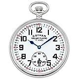 Gotham Men's Silver-Tone Mechanical Hand Wind Railroad Pocket Watch # GWC14103S