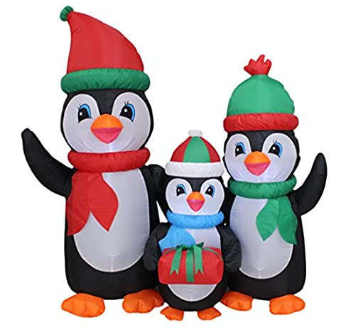 5 Foot Tall Lighted Christmas Inflatable Penguins Family with Gift LED Yard Art Decoration - 5' Snowmen