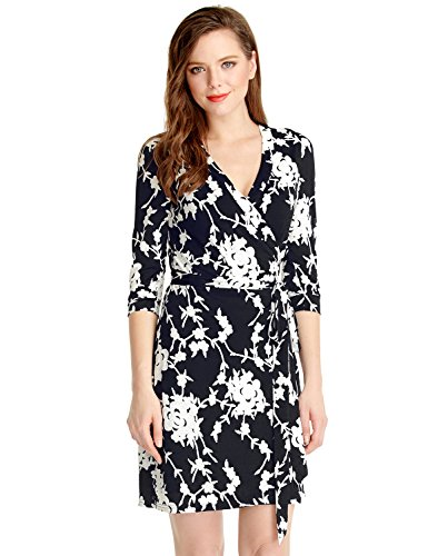 LookbookStore-Womens-Casual-True-Wrap-Floral-Knee-Length-Cocktail-Work-Dress
