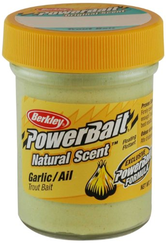 Berkley PowerBait Natural Scent Trout Bait, Garlic, 1.75 oz (Fish Attractant Garlic)