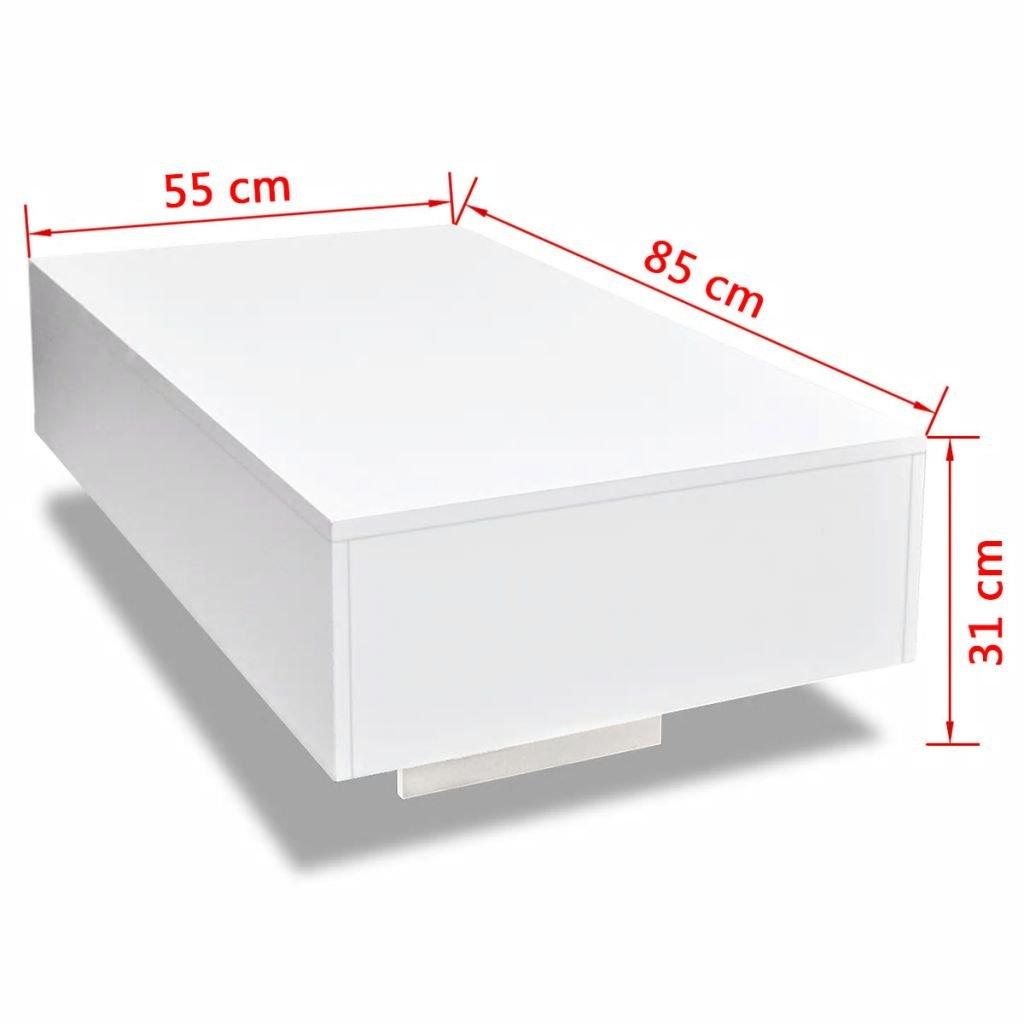 Vislone Tavolo per Divano//Tavolino da Salotto//Tavolino da caff/è Rettangoalre Moderno Lucido Bianco 85 x 55 x 31 cm