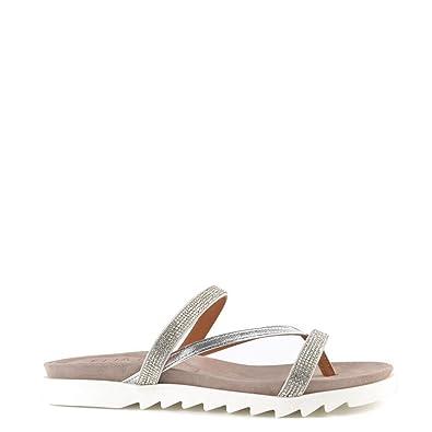 e88845722 Elia B Shoes Glitzy Silver Flat Sandal 37EU 4UK Silver  Amazon.co.uk ...