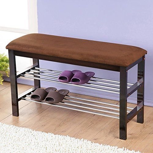 Roundhill Furniture Dark Espresso Wood Shoe Bench with Chocolate Microfiber Seat