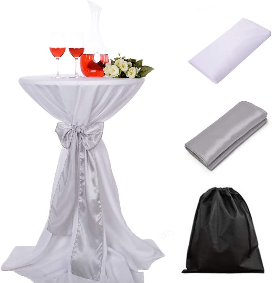 OVWY 30 Inch (2.5 FT) Cocktail White Tablecloth Seamless Polyester Fabric + Silver Satin Sash Combination for Decoration of Wedding Engagement Club Bar Outdoor Party