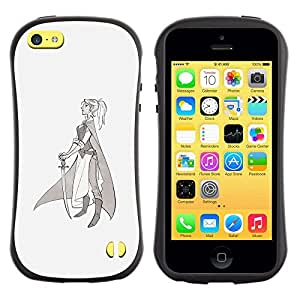 Suave TPU GEL Carcasa Funda Silicona Blando Estuche Caso de protección (para) Apple Iphone 5C / CECELL Phone case / / Warrior Princess Sword Profile Art Drawing /