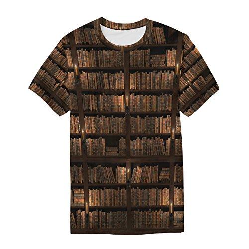 Courtes Cou Du Homme Multicolore Bibliothèque T Ras Vintage shirt Alaza Manches Décontracté Bookshelf À YH1nqw4
