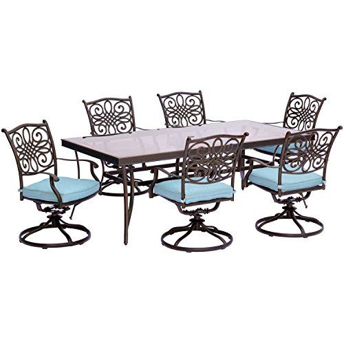 Hanover TRADDN7PCSWG-B Traditions 7 Piece Dining Set in Blue with Extra Large Glass-Top Dining Table (Scroll Patio Furniture Set)