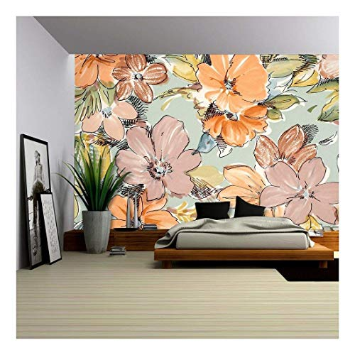 wall26 - Floral Pattern on Blue Fabric. Brown and Orange Flowers Print as Background. - Removable Wall Mural   Self-Adhesive Large Wallpaper - 66x96 ()