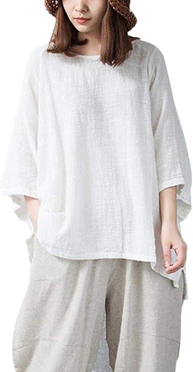 DEELIN Mujeres OtoñO E Invierno Retro Elegante Temperamento Mujeres Suelto 3/4 Camisa De Manga Camisa Casual De Color SóLido Camisa CláSica (S-5XL): Amazon.es: Ropa y accesorios
