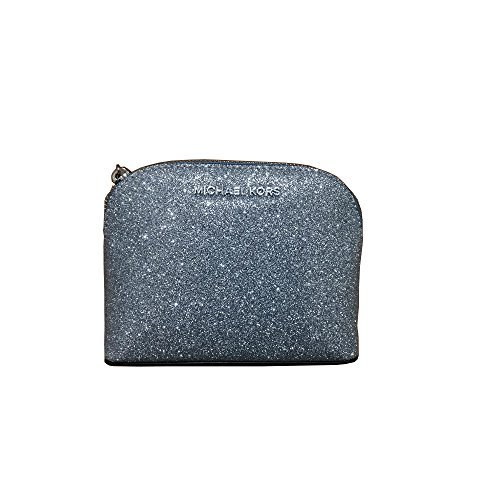 Michael Kors Glitter Leather Medium Cosmetic Case Travel Pouch Silver