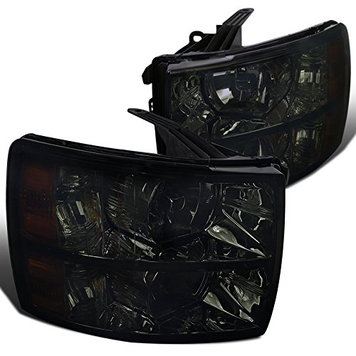 Spec-D Tuning 2LH-SIV07G-RS Chevy Silverado 1500/2500/3500 HD Crystal Smoke Tint Lens Headlights