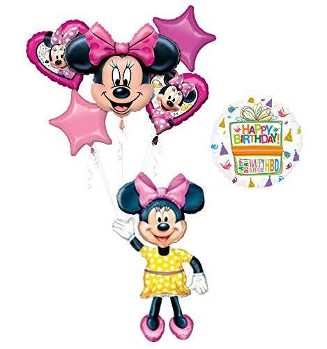 Mouse Airwalker Birthday Party Supplies and 6pc Balloon Bouquet Decorations ()