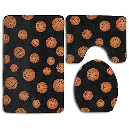 Shadidi Basketball Soccer Nba Fashion Non-slip Bath Mat Set Bathroom Accessories Bath Rug Sets 3 Piece by Shadidi