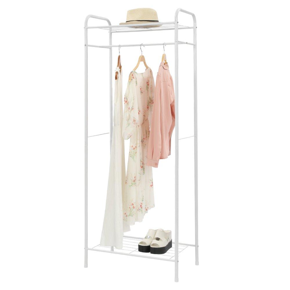 "HOME BI Clothing Garment Rack, Clothes Stand Rack Organizer Storage with Hanging Rod and 2-Tier Metal StorageShelf, 24""W x 15""D x 65""H, Black"