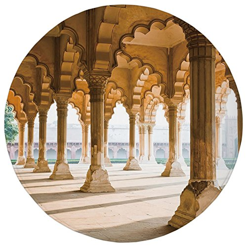 ,Pillar,Historical Theme Gallery of Pillars at Agra Fort Ethnic Digital Image Decorative,Light Coffee and Beige,Flannel Microfiber Non-slip Soft Absorbent,for Kitchen Floor Bathroo (Agra Carpet)