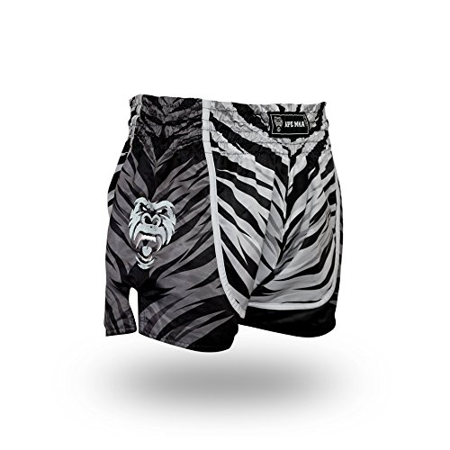 Thai Style Clothing - Ape MMA Premium Muay Thai Shorts for Kickboxing, Thai Boxing, MMA and Striking 5+ Styles (Small, White Tiger)