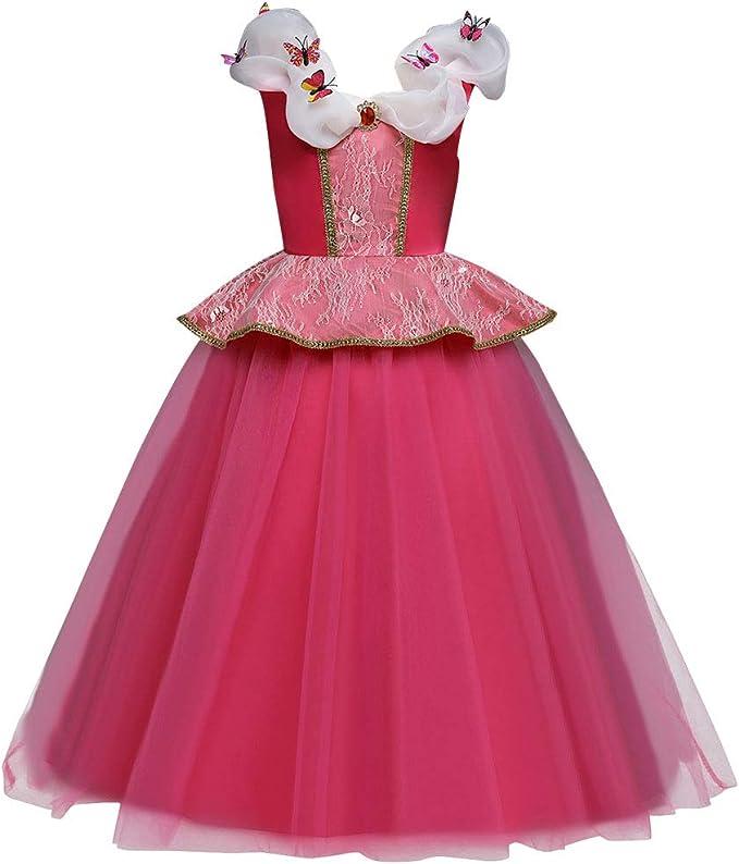 FYMNSI Disfraz de Princesa Aurora Niñas Carnaval Cosplay de la ...