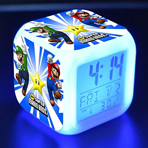- VIETCJ Sup3R Marie Bros Led Alarm Clock Glowing Colorful Touch Game Figurine PVC Des Op Toys for Children- Legends Gifts Movies Comic Toys Collection