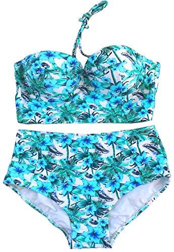 LA PLAGE Womens Colorful High Waist Vintage Push up Padded Bra Swimwear Zhenjiang Delma Electronic Commerce Co Ltd.