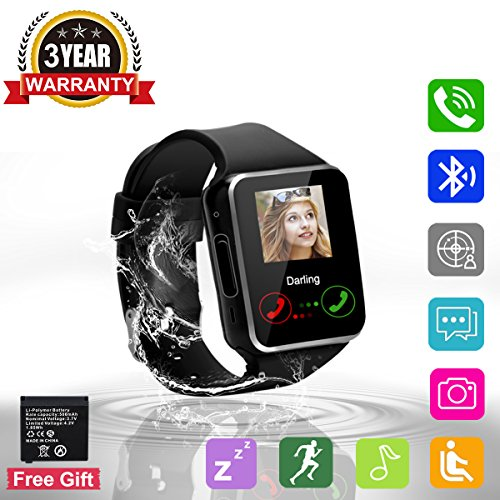 Bluetooth Smart Watch Touchscreen with Camera,Unlocked Watch Cell Phone with Sim Card,Smart Wrist Watch,Waterproof Smartwatch Phone for Android Samsung IOS Iphone 7 Plus 6 6S Men Women Kids
