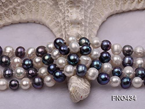 JYX 6-7mm collier de perles deau douce rondes blanches et noires
