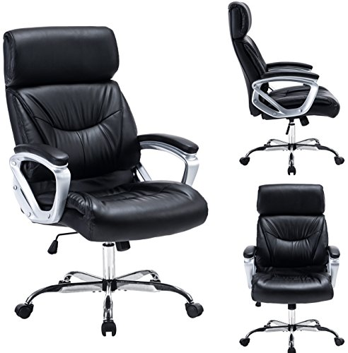 High Back Ergonomic Office Chair Leather Task Chair with Thick Padded Seat Cushion and Headrest