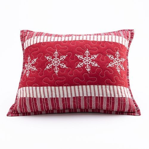Home Classics Nicholas Holiday Collection Embroidered Decorative Pillow, Snowflake, Cotton, Red