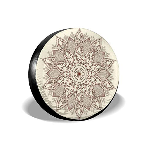 GULTMEE Tire Cover Tire Cover Wheel Covers,Ethnic Round Lace Pattern with Ornamental Curls Diamond and Drop Shapes,for SUV Truck Camper Travel Trailer Accessories(14,15,16,17 Inch) 14