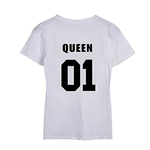 Yeesea Mujer King and Queen Moda T-shirt Verano Manga corta Impreso Parejas Top