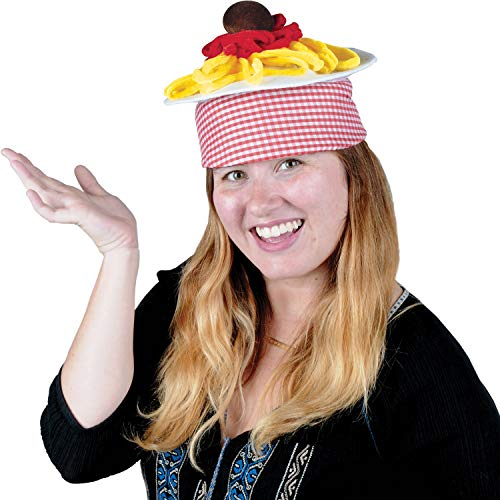 Party Central Club Pack of 12 Italian Red and White Checkered Spaghetti and Meatball Plush Hat 8