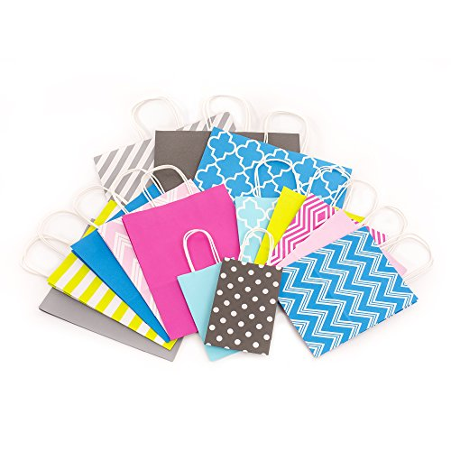 Hallmark Paper Gift Bag Assortment, Pink, Blue, Yellow, Gray (Pack of 15 Small, Medium, Large, Extra Large Bags for Parties, Birthdays, Baby Showers, Weddings, Holiday, All Occasion)