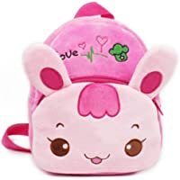 Pink Fluffy Bunny Backpack Cartoon Plush Bunny for Kids and Toddlers Preschool Bag Pink and Blue by My Purple Giraffe (Pink Bunny)