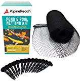 AlpineReach Koi Pond Netting Kit 14 x 14 Feet - Dense Fine Mesh Heavy Duty Stretch Pool Pond Net Cover for Leaves - Protects Koi Fish from Blue Heron Birds Cats Predators UV Protection Stakes Included