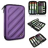 BUBM Portable EVA Hard Drive Case Travel Organizer for Electronics (1 Purple Large)