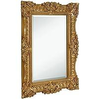 "Hamilton Hills Large Ornate Gold Baroque Frame Mirror | Aged Luxury | Elegant Rectangle Wall Piece | Vanity, Bedroom, or Bathroom | Hangs Horizontal or Vertical | 100% (30"" x 40"")"