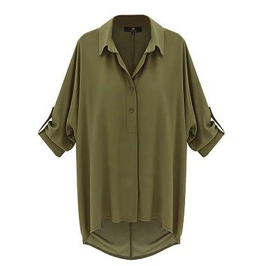 Looses locker casual Bluse shirt mit Knopfleiste, Farbe: Grün, GR: 36/