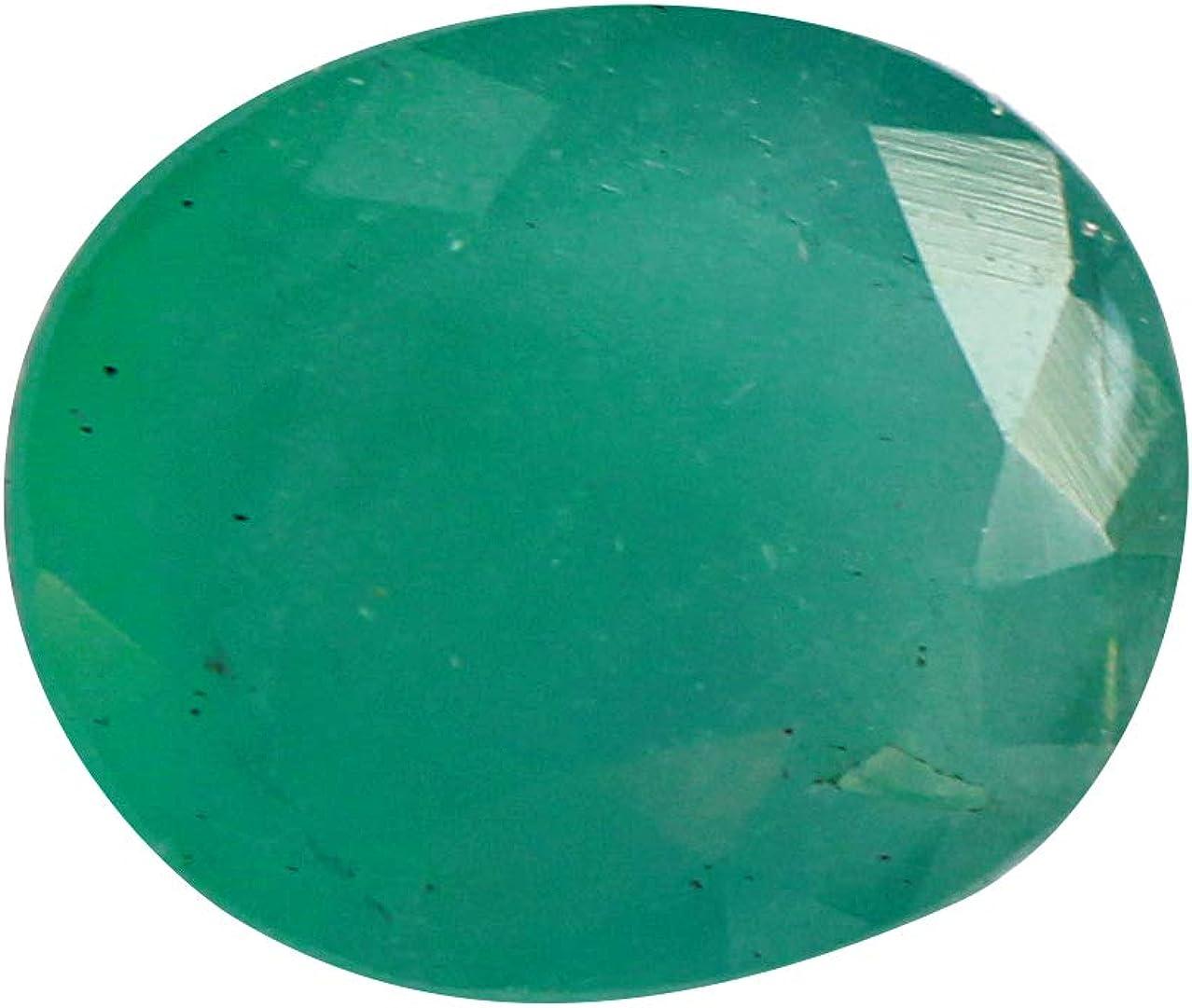 Jaipur Gems Mart 2.70 Quilates Forma Oval Natural de Zambia facetadas Panna Verde Esmeralda Cabochan Pieza para Hacer la joyería, Pendiente de la Esmeralda, la curación de Piedras Preciosas