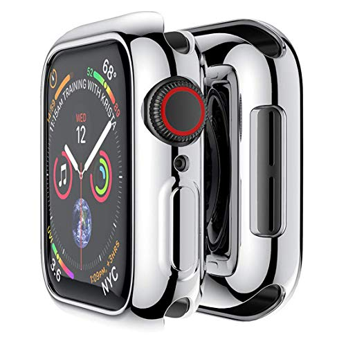 Compatible with Apple Watch Case Series 4, Plated Soft TPU Anti-Scratch Shock-Proof Protective Iwatch Cover Slim Bumper for Apple Watch Series 4 (Silver, 40mm)