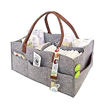 Baby Diaper Organizer Caddy for Changing Table Boy Girl Diaper Storage Bin| Baby Shower Gift Basket DOiD Nursery Diaper Tote Bag Baby Needs for Newborn Large Portable Car Travel Organizer