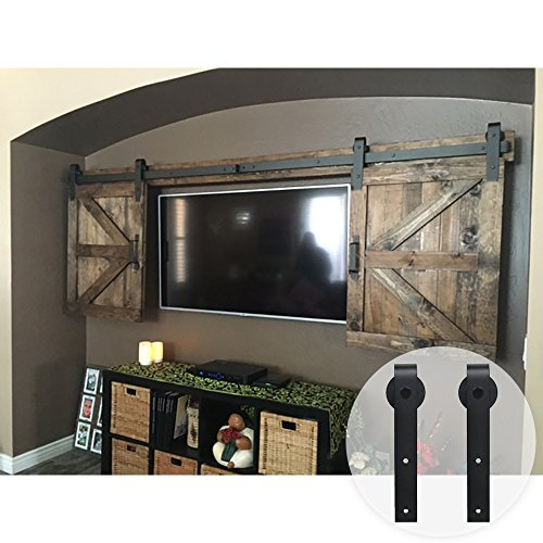 WINSOON 7FT Double Black Steel Bending Wheel Mini Sliding Barn Door Hardware for Cabinet TV Stand Set (Mini 7FT / Double Kit) by WINSOON