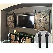 WINSOON 7FT Double Black Steel Bending Wheel Mini Sliding Barn Door Hardware for Cabinet TV Stand Set (Mini 7FT / Double Kit)