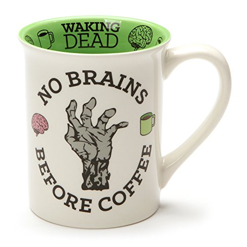 "Enesco 6001243 Our Our Name Is Mud""No Brains Before Coffee Zombie"" Stoneware Mug, 16 oz, Multicolor"