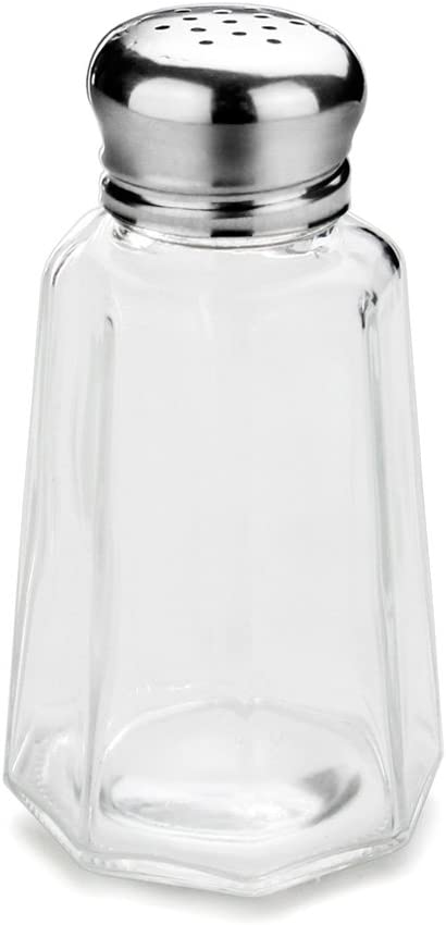 New Star Foodservice 22186 Glass Salt and Pepper Shaker with Stainless Steel Mushroom Top, 2-Ounce, Set of 12
