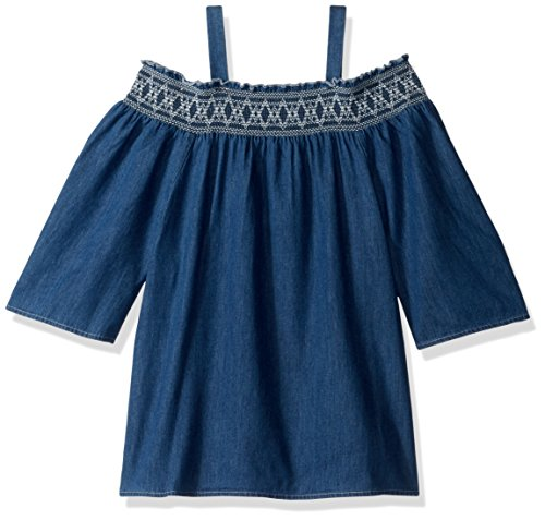 My Michelle Girls' Big Denim Cold Shoulder with Embroidery, Indigo, L (Clothes My Michelle)