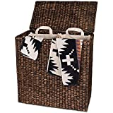 Designer Wicker Laundry Hamper with Divided Interior and Laundry Basket Bags - Espresso