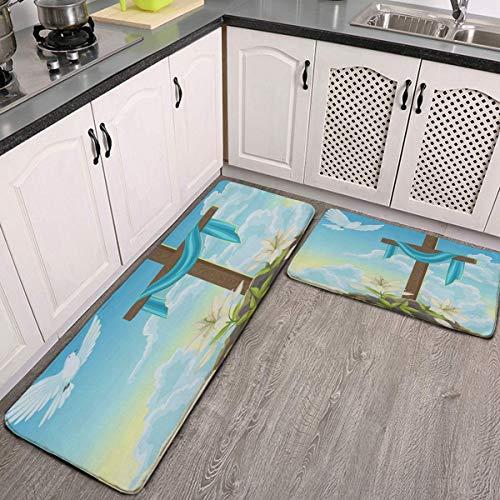 Kitchen Mat Cushioned Anti Fatigue 2 Piece Set Happy Easter Eggs Good Friday Kitchen Floor Mats Rug Carpet Non Skid…