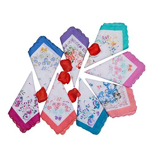 Elegant Gift for Ladies Women's Floral Vintage Hankies 100% Cotton Handkerchief for Tea Party (6 pcs)