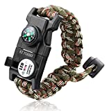 #9: Survival Bracelet, EZ Turbo 20 in 1 Survival Paracord Bracelet, Survival Gear Kit with SOS LED Light, Emergency Knife, Whistle, Compass, Fire Starter for Camping, Climbing, Waterproof