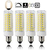 E11 led bulb, 75W or 100W Equivalent Halogen Replacement Lights, Dimmable, Mini Candelabra Base, 850 Lumens Daylight White 6000K, AC110V/ 120V/ 130V, Replaces T4 /T3 JD Type clear e11 light bulb[4-pack]